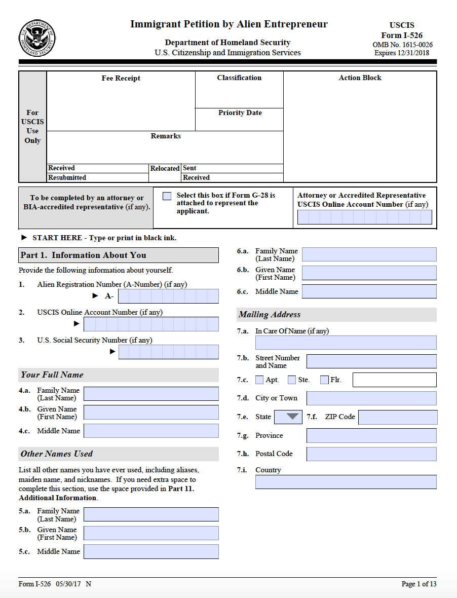 Form i 526 step by step guide on the form i 526 ashoori law i 526 page 1 falaconquin