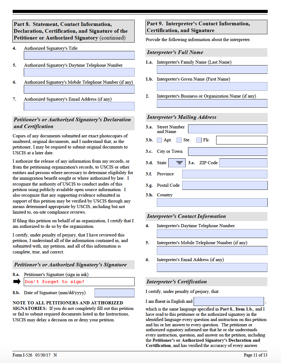 Form i 526 step by step guide on the form i 526 ashoori law i 526 page 11 falaconquin