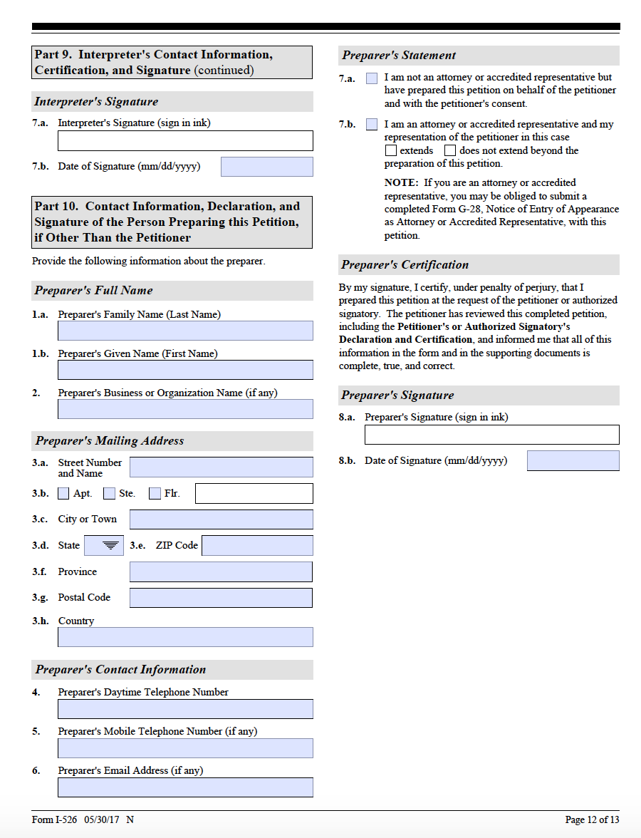 Form i 526 step by step guide on the form i 526 ashoori law i 526 page 12 falaconquin