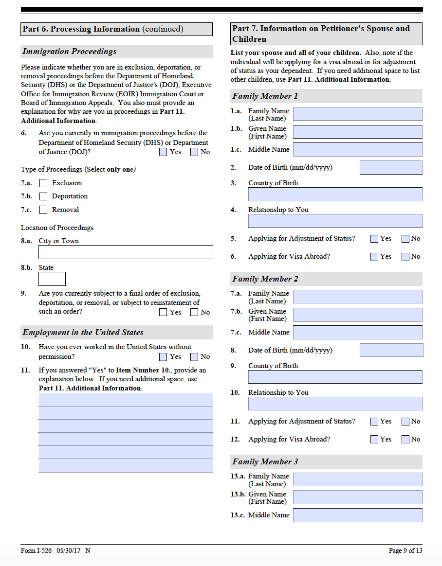 Form i 526 step by step guide on the form i 526 ashoori law i 526 page 9 falaconquin